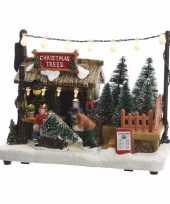 Kerstdorp maken kerstkerstdorp huisje kerstbomen boer met led licht 18 cm