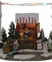 Kerstdorp speelgoed kraampje winkeltje 16 cm met led verlichting