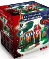 Kerstkerstdorp huisje bakkerij led kerst decoratie 9 x 6 x 9 cm