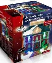 Kerstkerstdorp huisje raadhuis led kerst decoratie 9 x 6 x 9 cm