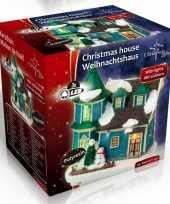 Kerstkerstdorp huisje villa led kerst decoratie 9 x 6 x 9 cm